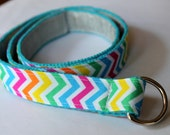 Girls Belt Reversible Rainbow Chevron and Silver Glitter Ribbon