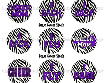 INSTANT DOWNLOAD Purple Zebra Cheer  Inspired 1 inch Circle Bottlecap Images 4x6 sheet