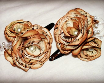 Vintage music paper flowers, hair clips. Set of 2