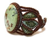 Macrame bracelet with Sonora Turquoise Stone (Mexico), brown green and blue tones
