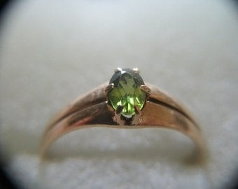 Estate Find 10k Oval Peridot .28 Carat Ring Size 5.50