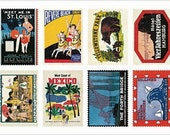 Retro Stamp Sticker Set - ver. 2 - 03 Poster - 2 Sheets - 16 Pcs