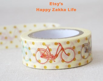 Bicycle with Cream and Dot - Japanese Washi Masking Tape - 5.5 yards