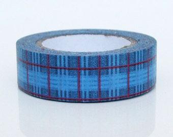 Japanese Washi Masking Tape - Blue Check - 11 yards
