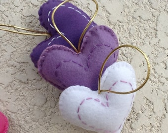Sweet felt Heart ornament set of 3