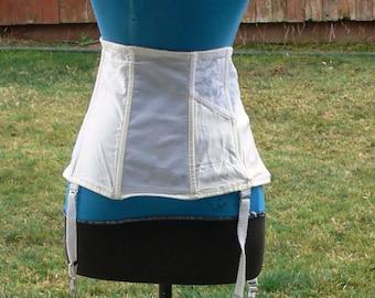 white girdle  tummy control and garter   size 40