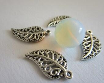 10 pcs - Tibetan Silver Leaf Charms (19x10MM)