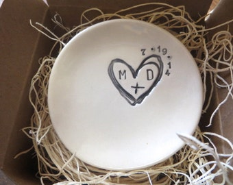 ring holder, ring dish,  engagement gift, wedding monogram initial tray,  Black and White,  Gift Boxed, Made to Order