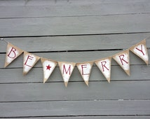 Be merry painted and glittered christmas burlap banner, Holiday Garland,  Photography prop