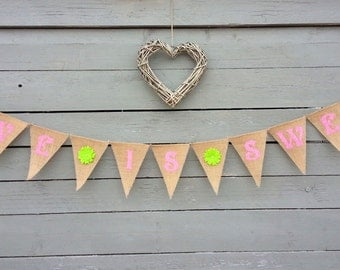 CLEARANCE SALE, Love is sweet burlap banner with pink lettering and lime gleen flowers