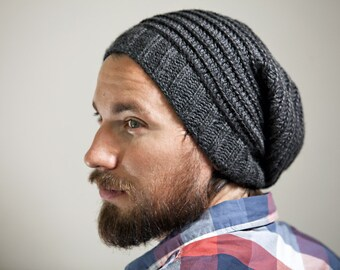 Men's Knit/Crochet Slouchy Hat in Charcoal with Spiral Pattern in Contrasting Color--Custom Colors Available