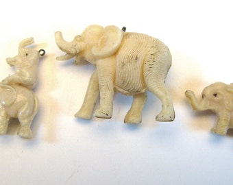Vintage 3 Elephant Charms of Celluloid Mom and Baby's Miniature collectible animal figures 1920's