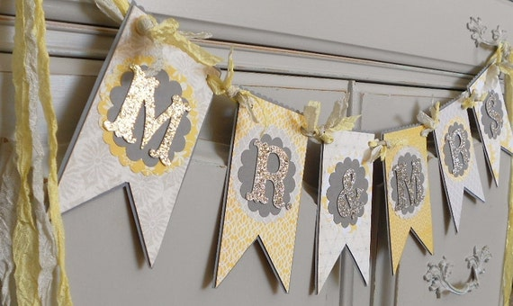 RESERVE LISTING for KEELIE - custom Wedding Banner  - Grey / Ivory / Yellow