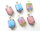 Six Piece Set of 10x8mm Octagon Glass Moonstone Jewels in Brass Connector Settings