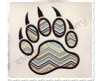 Applique Bear Paw Print Machine Embroidery Design - 4 Sizes