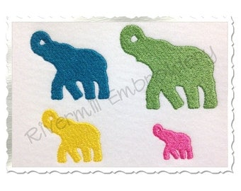 Mini Elephant Silhouette Machine Embroidery Design - 4 Sizes