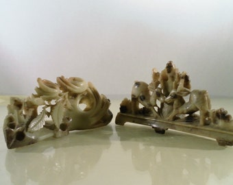 Vintage Pair of Asian Soapstone Carving,  Deer and Floral Leaf Open Through Work.  Interesting Unique Folk Art Quality, Unsigned.