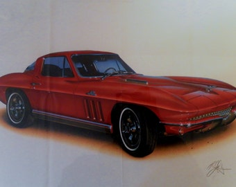 Vintage 1991 Hugo Prado AirArts 1966 Red Corvette Poster. Bloomington Gold Licensed Collection Print.  20x14 Folded In Good Condition.