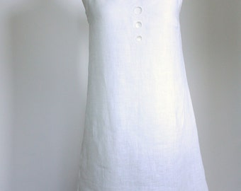 Linen nightdress white   nightwear  linen original  in summer dress style