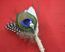 10pcs/lot Natural feather boutonnieres for peacock themed wedding elegance bridal bouquet accessories
