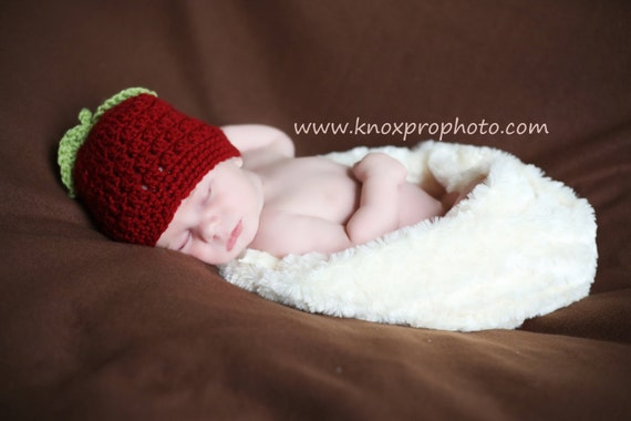 Red Delicious Apple Hat, Red Apple Hat, Crochet Baby Hat, Red Apple Baby Hat, Newborn Hat, Newborn Baby Hat, Apple Red Infant Hat