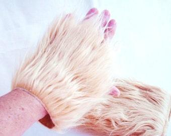Fuzzy Fur Fingerless Gloves, Faux Fur Fingerless Mittens Large, Long Blonde Fur, Warm and Soft