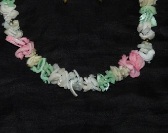 Vintage 60s Sea Shell Necklace And Clip On Earring Set White Pink Green Yellow Shells Bead String Summer Beach