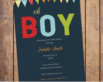 Boys baby shower invitation, modern, baby shower invitations, yellow green blue red, digital, printable file (item135)