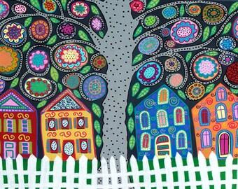 Kerri Ambrosino Art PRINT Mexican Folk Art Town Tree of Life Flowers Country Village White Pickett Fence