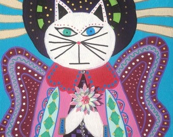 Kerri Ambrosino Mexican Folk Art NEEDLEPOINT Cat Angel Wings Flowers Blessing Halo Praying