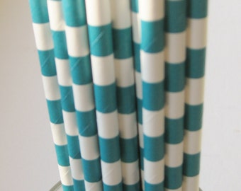 25 Paper Aqua & White Ringed Straws - Free Printable Straw Flags