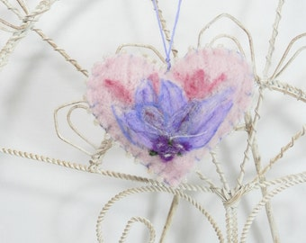 Needle felted heart ornament, brooch, pincushion, pink wool heart with flower and berries, Valentine ornament, Mothers Day