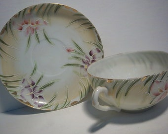 Vintage Teacup w/ Irises made in Japan delicate porcelain pale yellow and purple & pink flowers