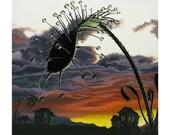 "Carnivorous Plant Print: The Drosera Colony II   8"" x 8"""