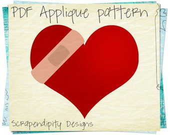 Bandaid Heart Applique Pattern -  Healing Applique Template / Heart Healthy Quilt Pattern / Cardio Health Wall Hanging / Printable AP278-D