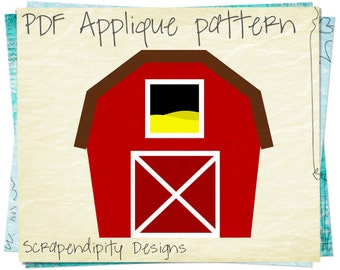 Barn Applique Template - Farm Applique Pattern / Farm Quilt Pattern / Barn Nursery Wall Hanging / Kids Toddler Farmer Shirt / PDF AP256-D