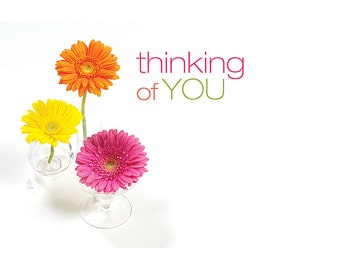 """50 Flowers """"Thinking of You"""" Print Florist Blank Enclosure Cards Small Tags Crafts (Free Shipping!)"""