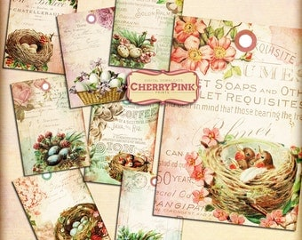 SHABBY BIRDS NEST  printable tags, shabby chic printable digital download gift tags