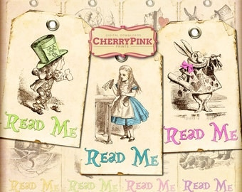 Alice in Wonderland decorations, Alice tags, Read Me tag, Alice party supplies, digital collage sheet, digital download