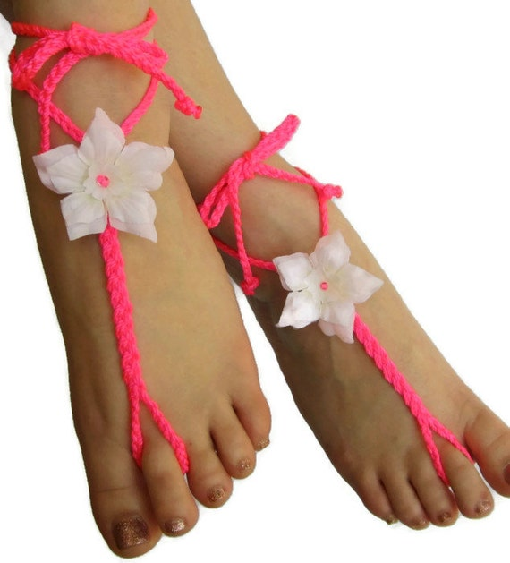 Walk This Way barefoot sandals neon hot pink braided with flowers