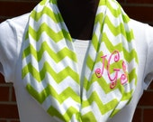 Monogrammed Chevron Infinity Scarf Lime Green & White Sorority Scarf
