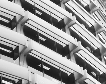 Black and White Abstract Architecture Art Print Windows Photography Sydney Australia Building Industrial Modern Home Decor Wall Art