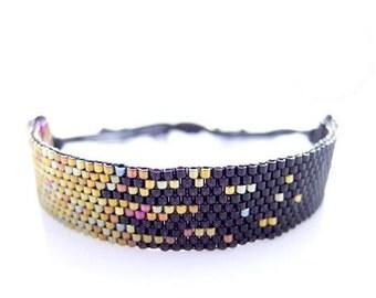 Stardust Bracelet, Black Bracelet, Black and Gold Bracelet, Black Beaded Bracelet, Black Cord Bracelet, Pixel Pixelated, Constellation, OOAK