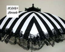 VICTORIAN PARASOL Umbrella in Elegant Black/White Stripe Satin with Lace Ruffle Bridal Steampunk Second Line Wedding Child Flower Girl