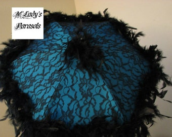 VICTORIAN PARASOL Umbrella in Your Choice of Fabric Color, Black Lace Overlay, Black Chandelle Feather Trim Renaissance Bridal Second Line