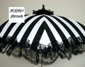 VICTORIAN PARASOL Umbrella in Elegant Black/White Stripe Satin with Lace Ruffle Bridal Steampunk Second Line Wedding Child Flower Girl