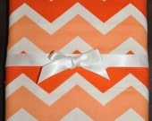 Extra Large Receiving/Swaddle Blanket - Large Orange & White CHEVRON  40 x 40 inches