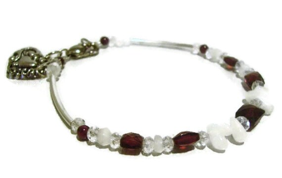 SALE Large Garnet and Rainbow Moonstone Bracelet Filgree Heart Charm Silver Tone