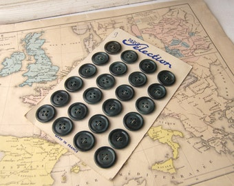 Simple French Vintage Blue/Green Tone Buttons, French Buttons on Original Card, Blue/Green French Buttons for Vintage Inspired Projects
