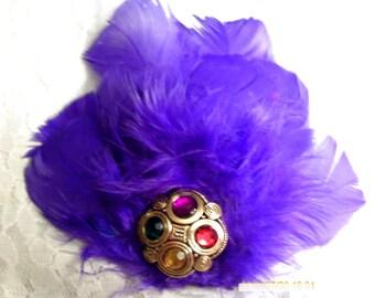 Purple Feather Fascinator clip